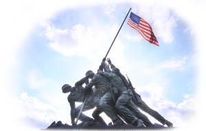 US Marine Corp monument depicting the raising of the US flag over Iwo Jima