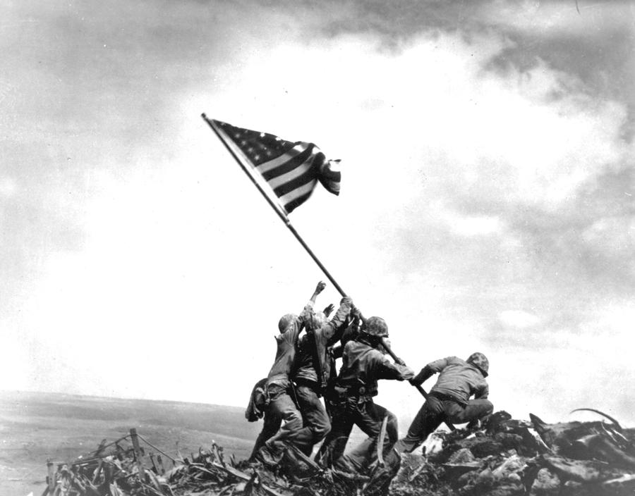 Historic Photo of US Marines raising flag at Iwo Jima